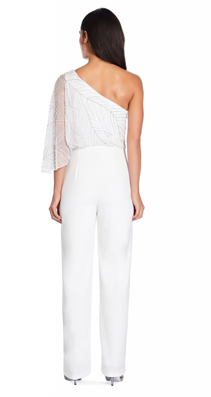 Beaded crepe jumpsuit