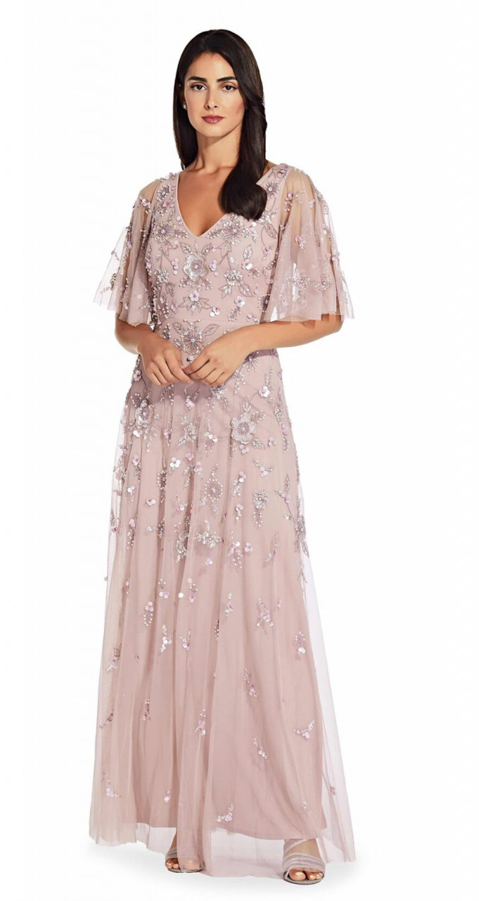 Long flutter sleeve dress with floral beaded detail