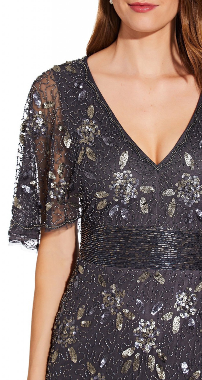Beaded capelet gown