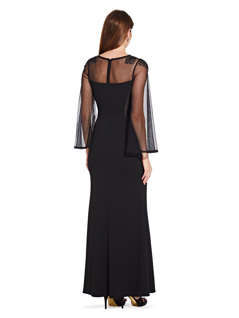 Crepe and point d'esprit gown