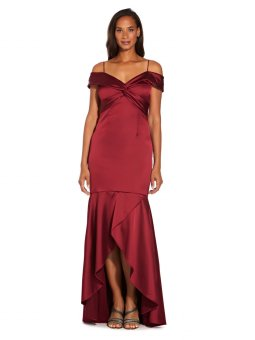 Cold shoulder satin gown