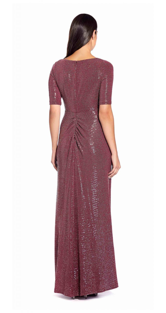Sequinned knit draped gown