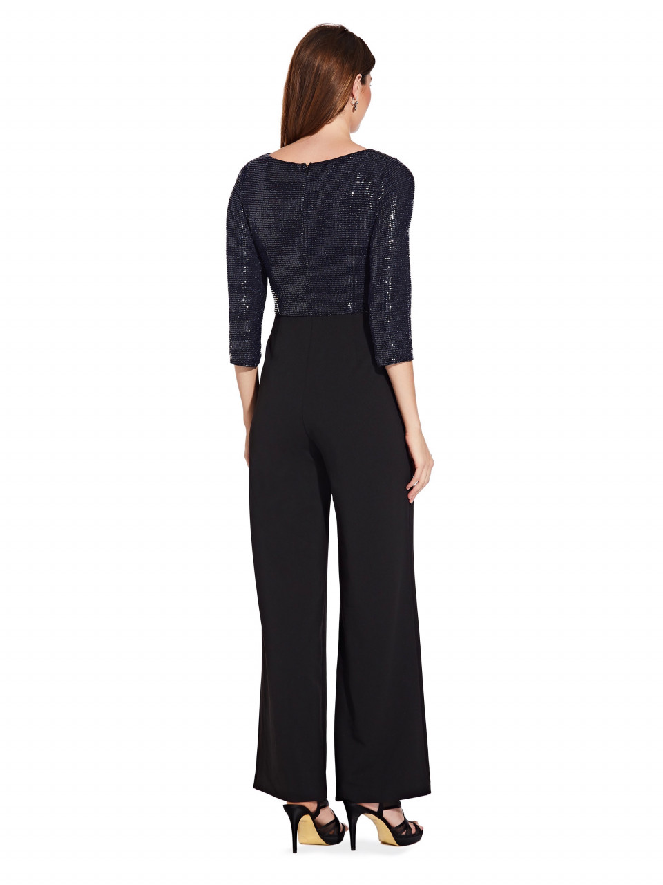Sequin knit crepe jumpsuit