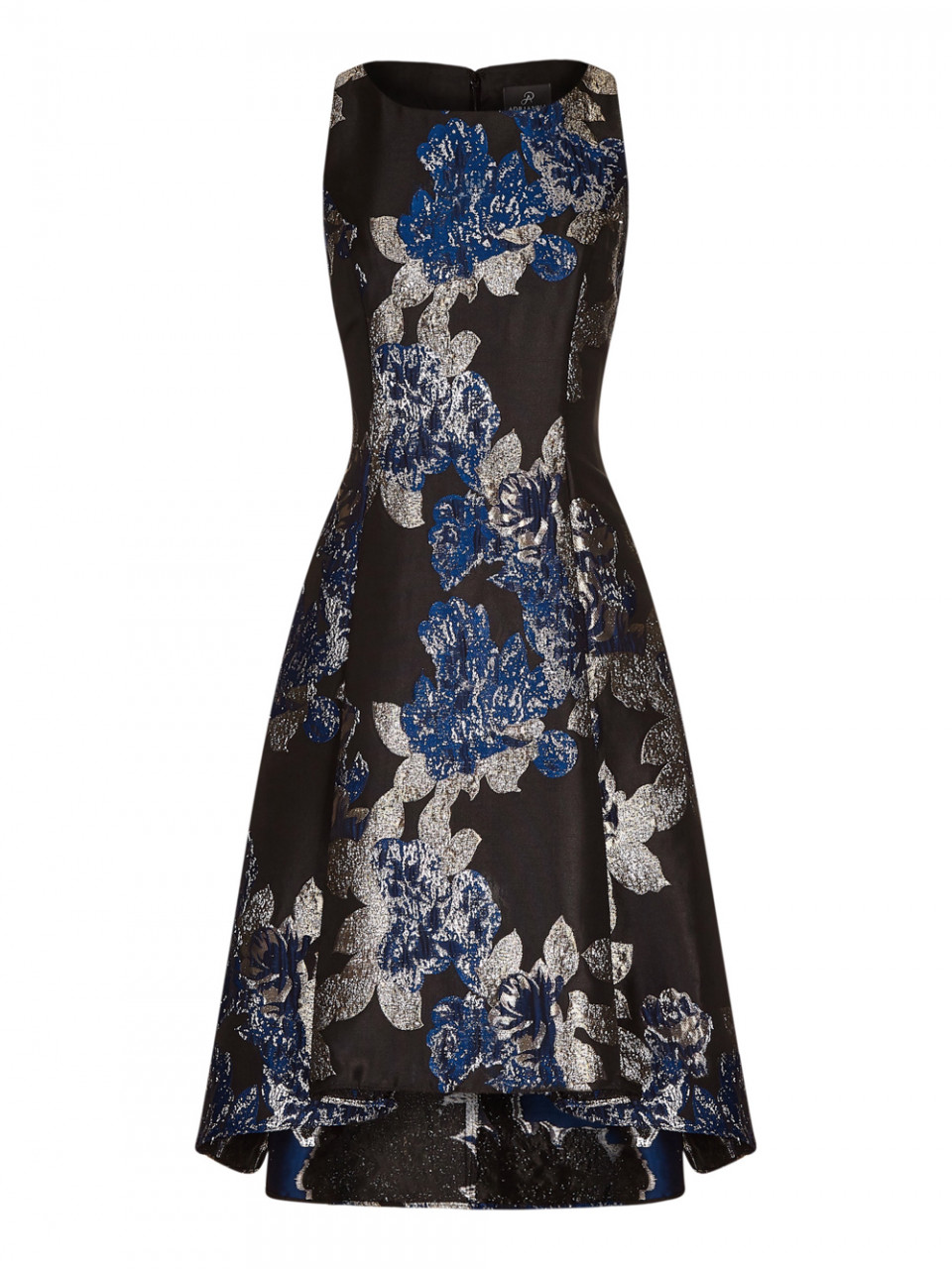 Metallic jacquard hi-low dress