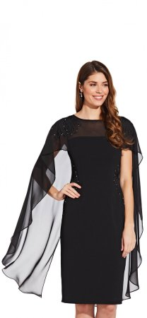 Beaded sheath dress with cape detail