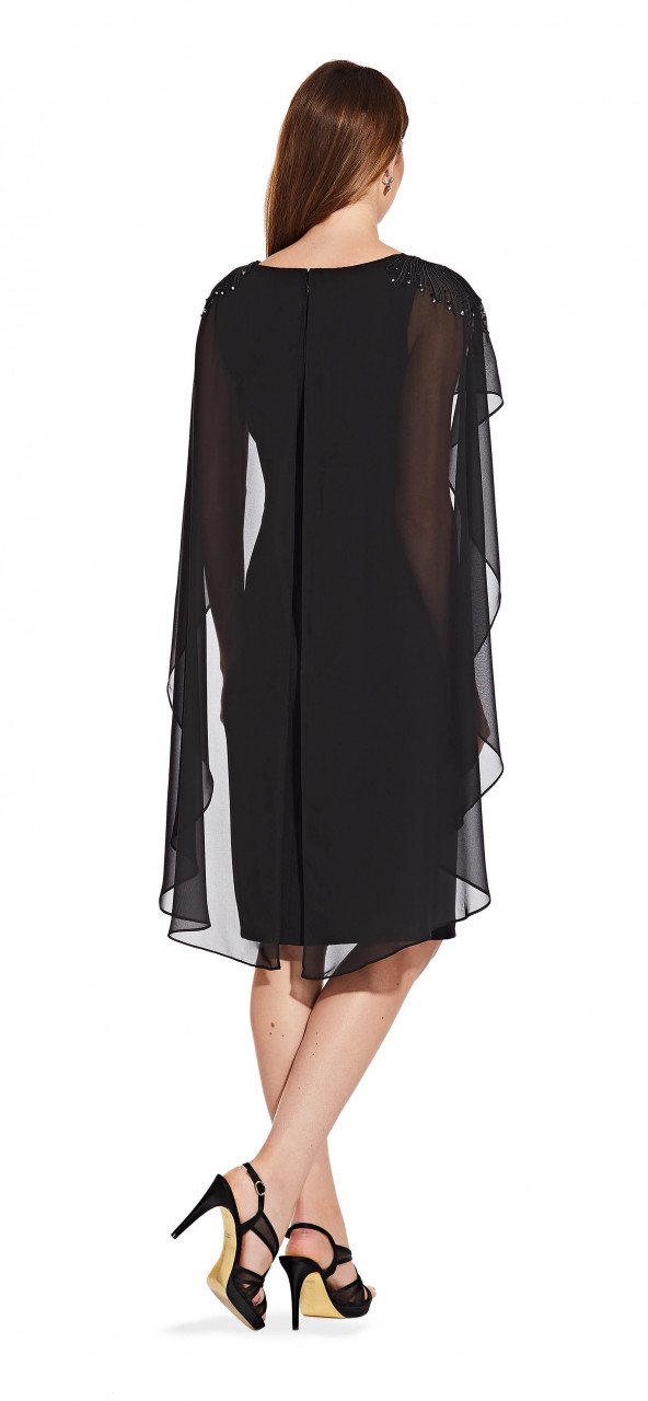 Beaded sheath dress with cape detail