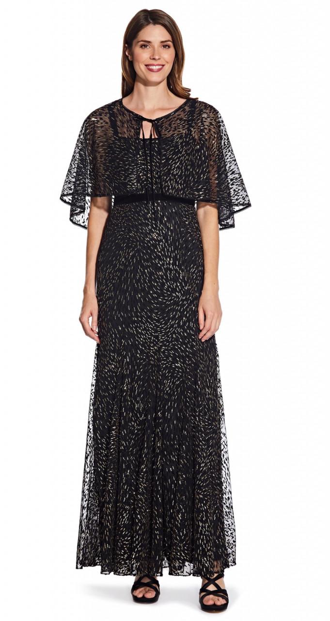 Glitter velvet gown with capelet