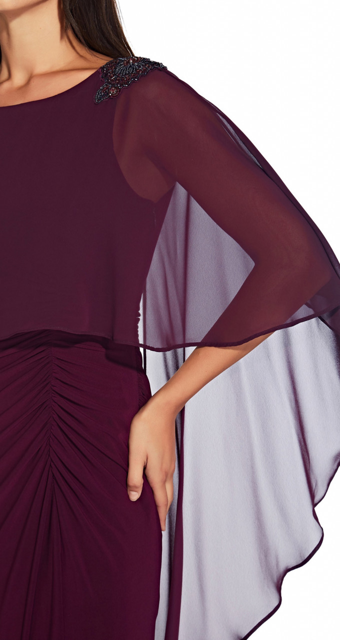 Chiffon capelet jersey gown
