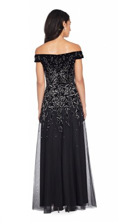 Bead velvet long dress