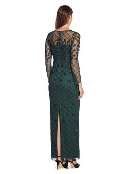 Beaded long column gown