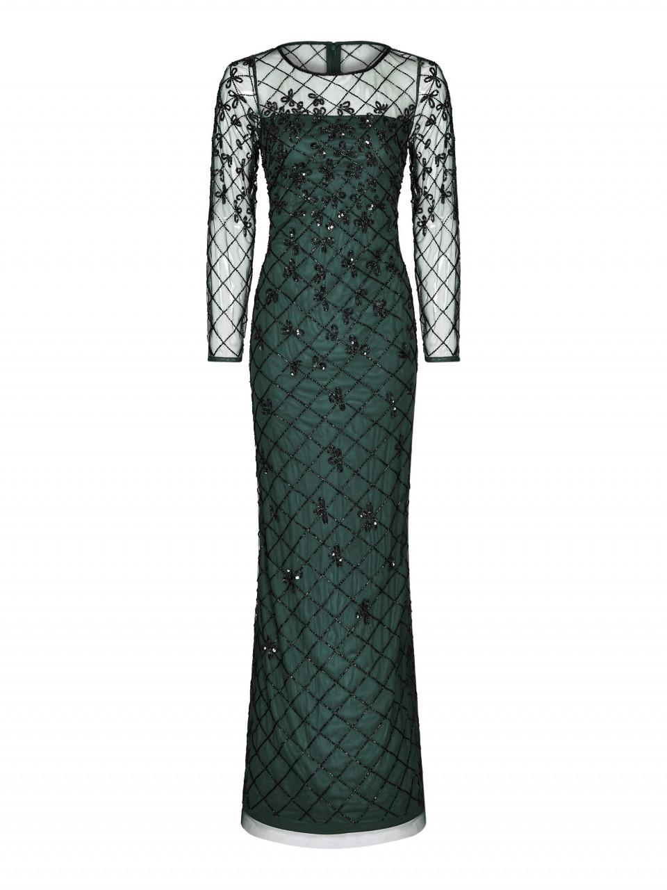 Beaded long column gown