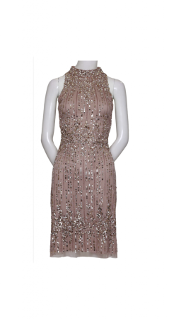 Sleeveless Mock Neck Cocktail Dress with Sequin Detail