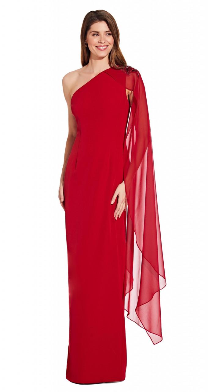 One shoulder cape column gown
