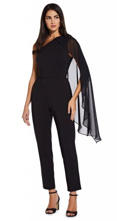 One shoulder cape jumpsuit