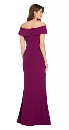 Off shoulder draped crepe gown