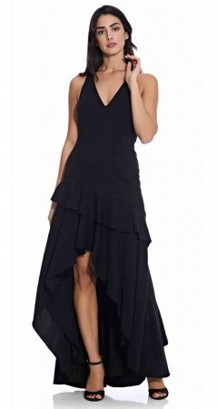 Long sleeveless dress with asymmetrical ruffle skirt
