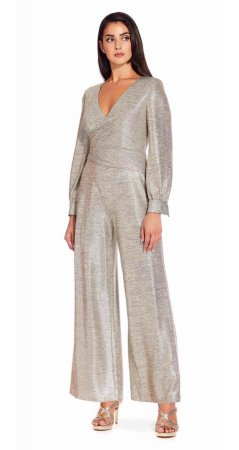 Metallic cropped jumpsuit with cuffed sleeves