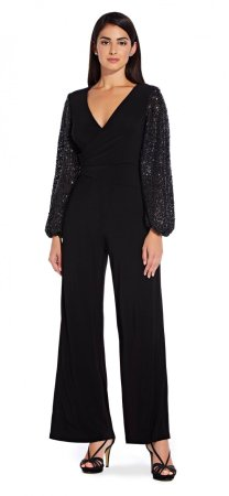 Long sleeve sequin jumpsuit with surplice top