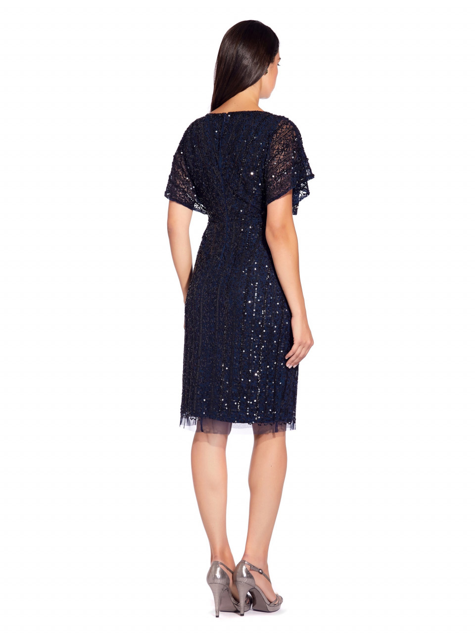 Flutter sleeve beaded cocktail dress