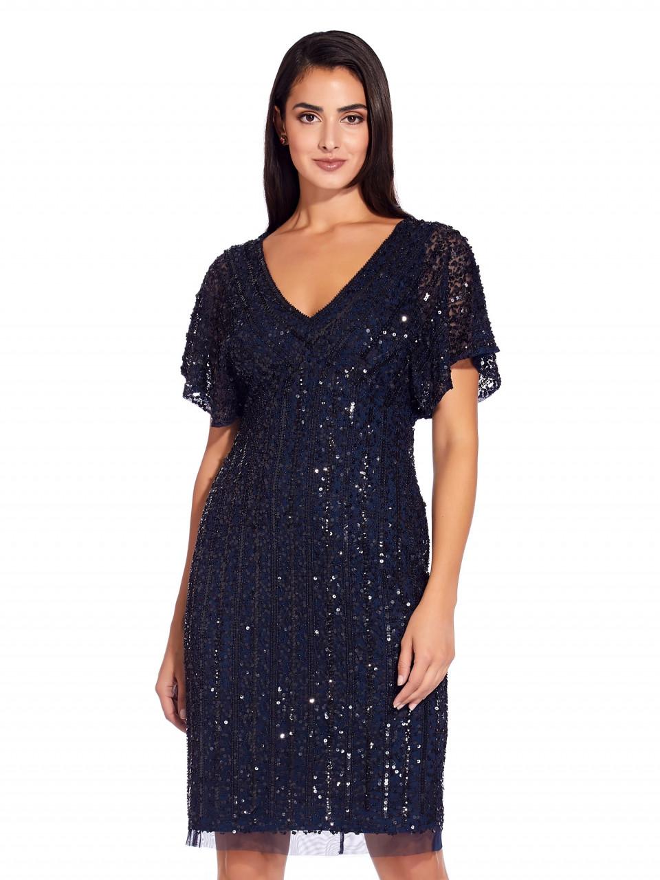 Flutter sleeve beaded cocktail dress