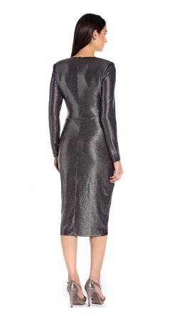 Foiled jersey wrap dress