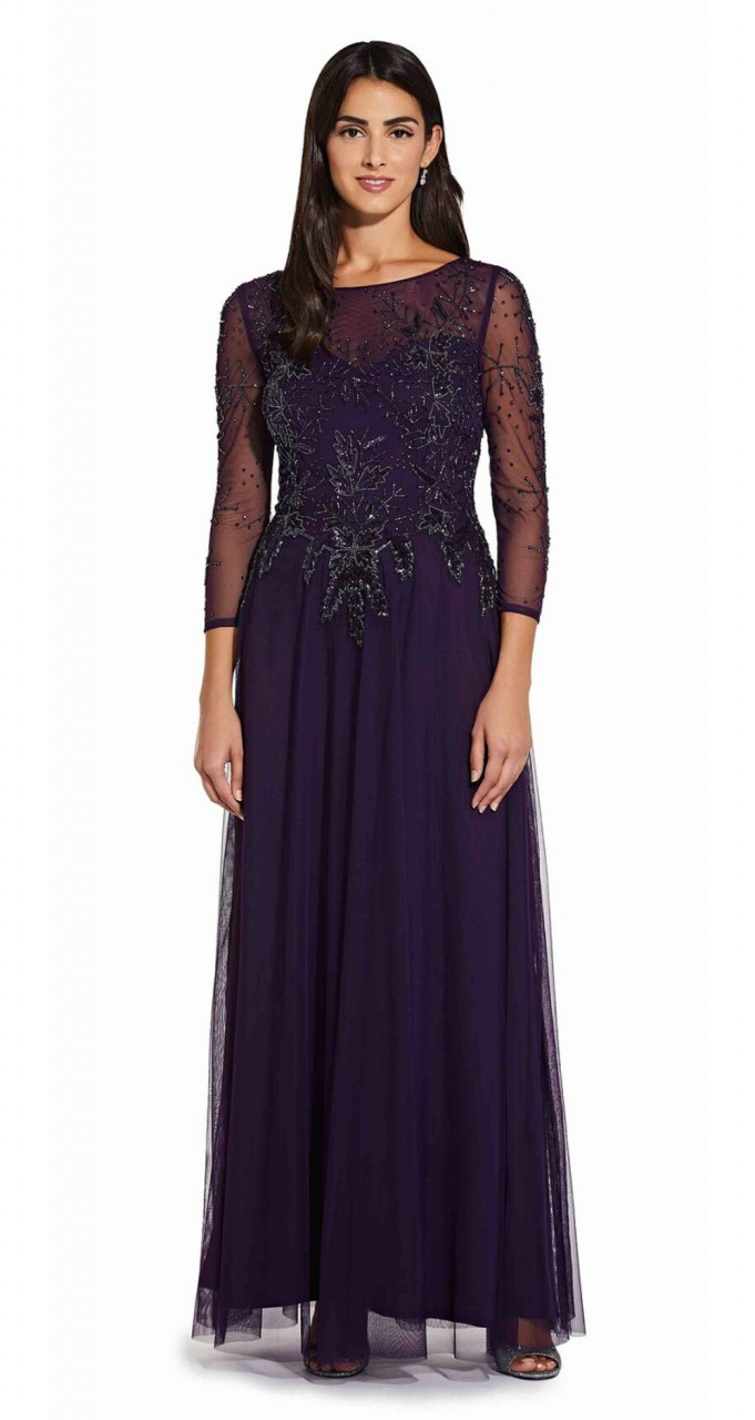 Long beaded dress with sheer detail