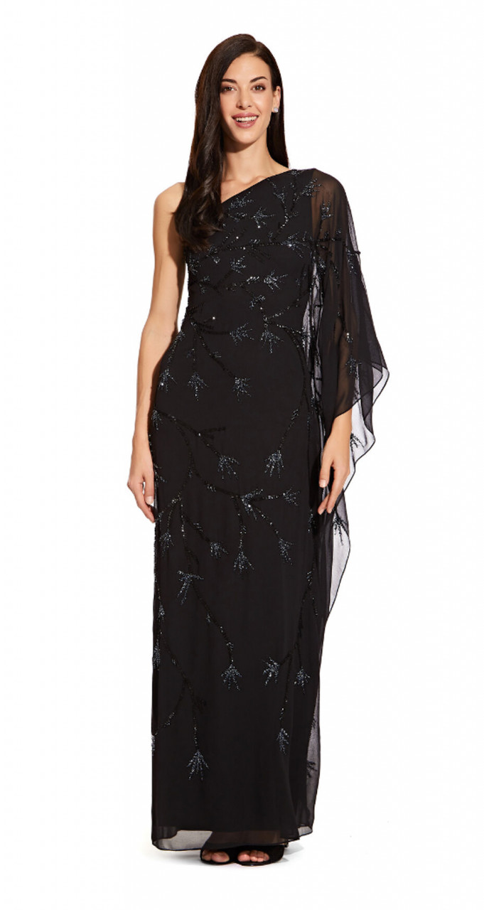 Asymmetrical dolman sleeve dress with beaded detail