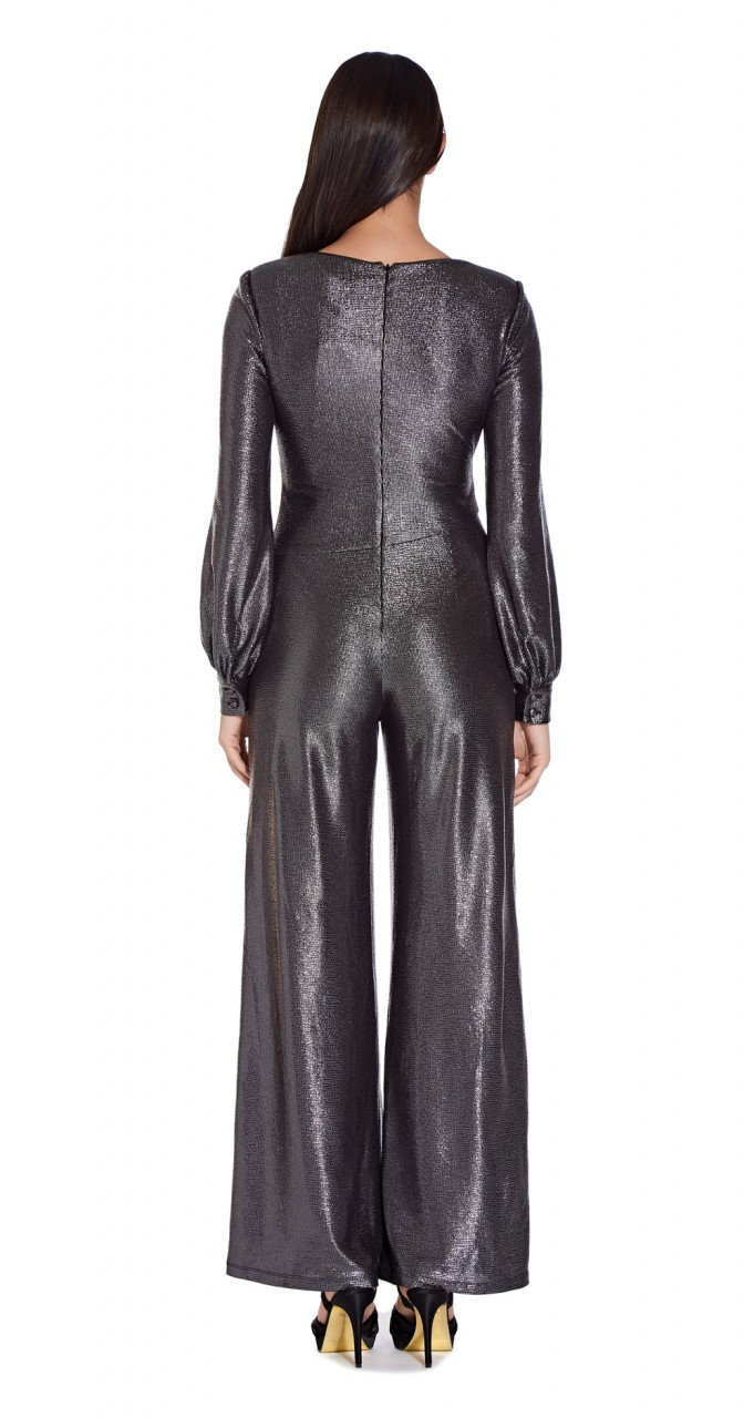 Metallic jersey jumpsuit