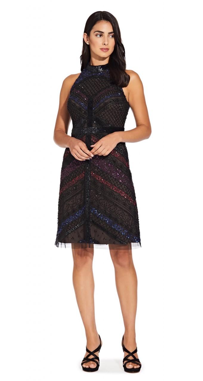 Beaded short halter dress