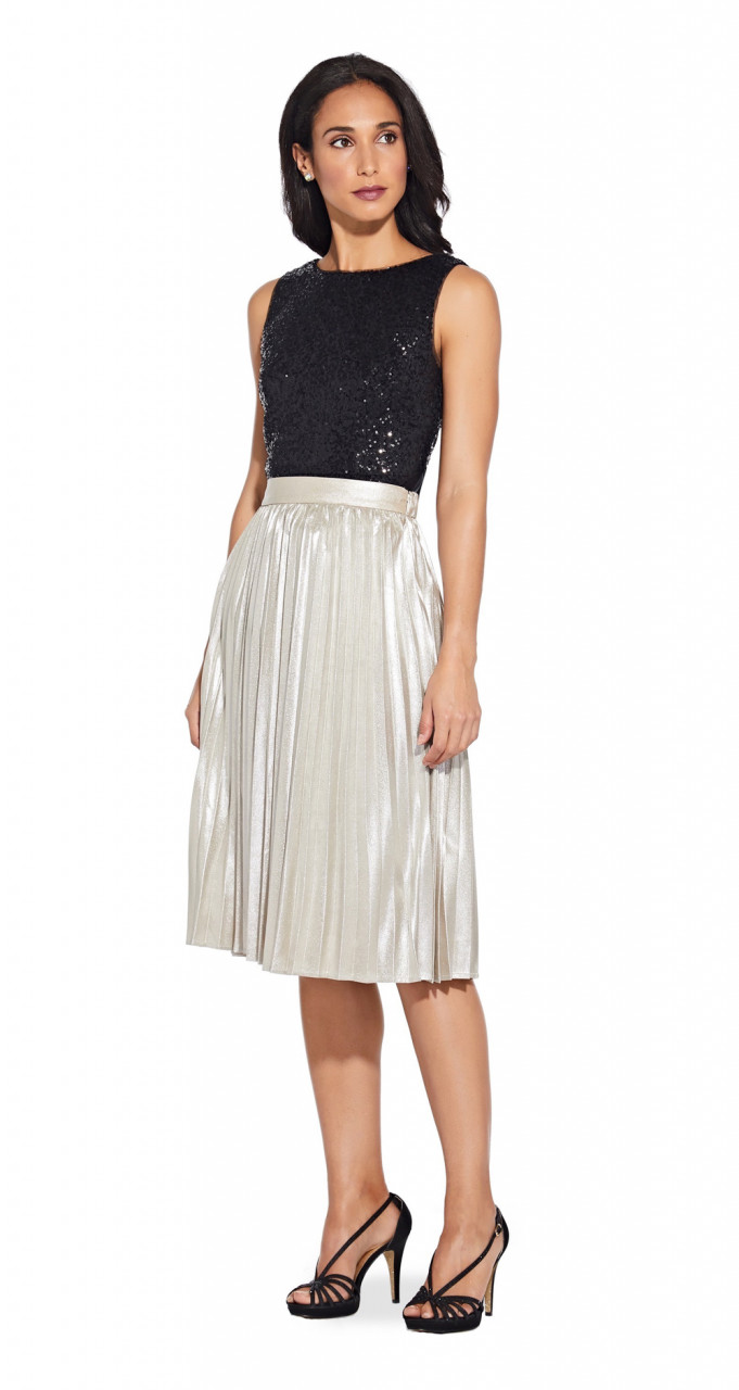Metallic pleat skirt