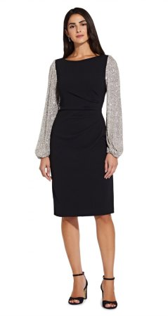 Sequin sleeve crepe dress