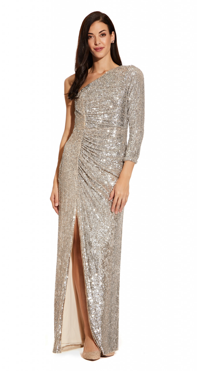 Sequin draped gown