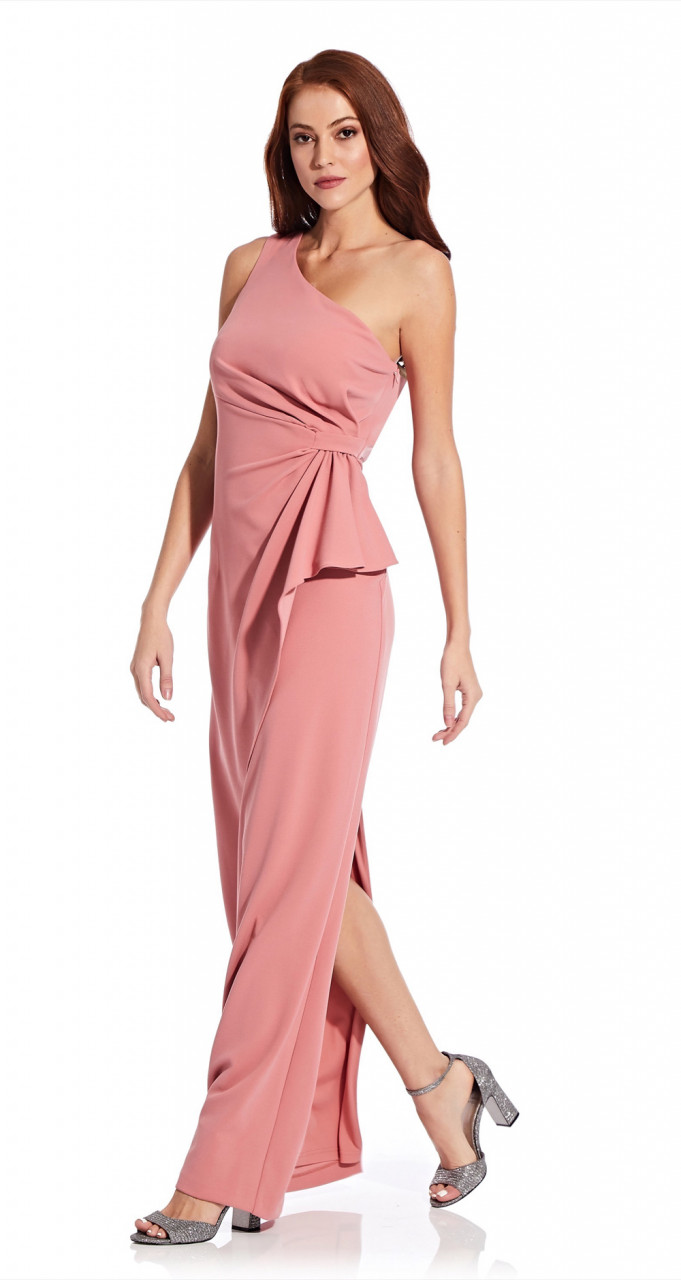 Crepe draped dress