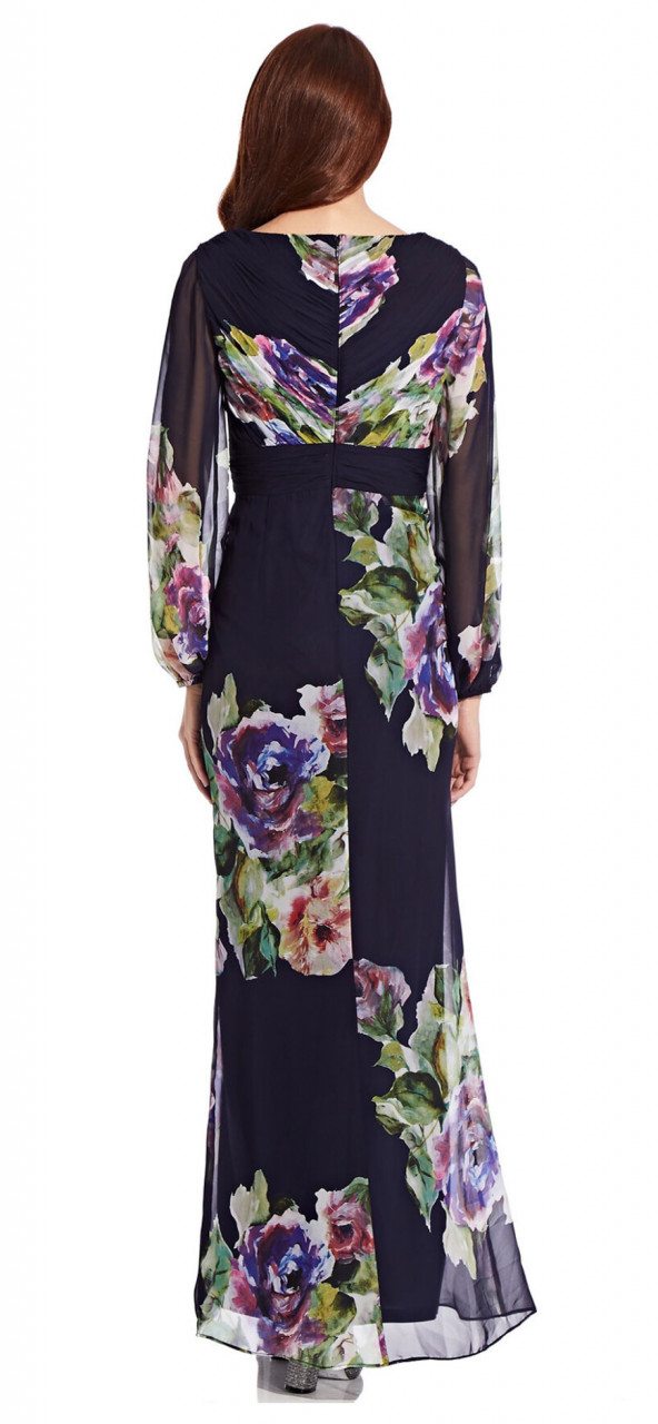 Asymmetrical floral dress with pleated detail