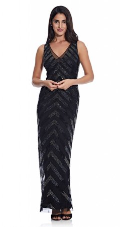 Beaded v-neck column gown