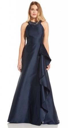 Mikado cascade gown