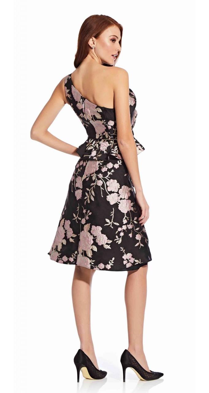 One shoulder jacquard dress