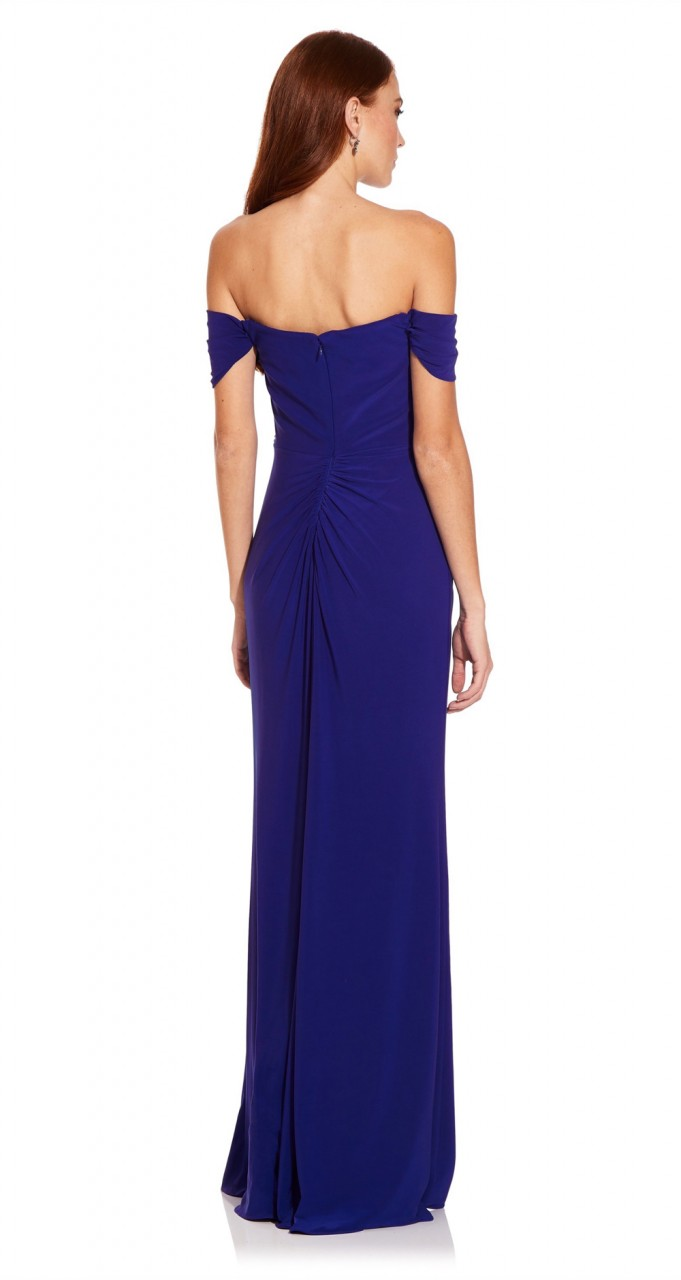 Pleated jersey column gown