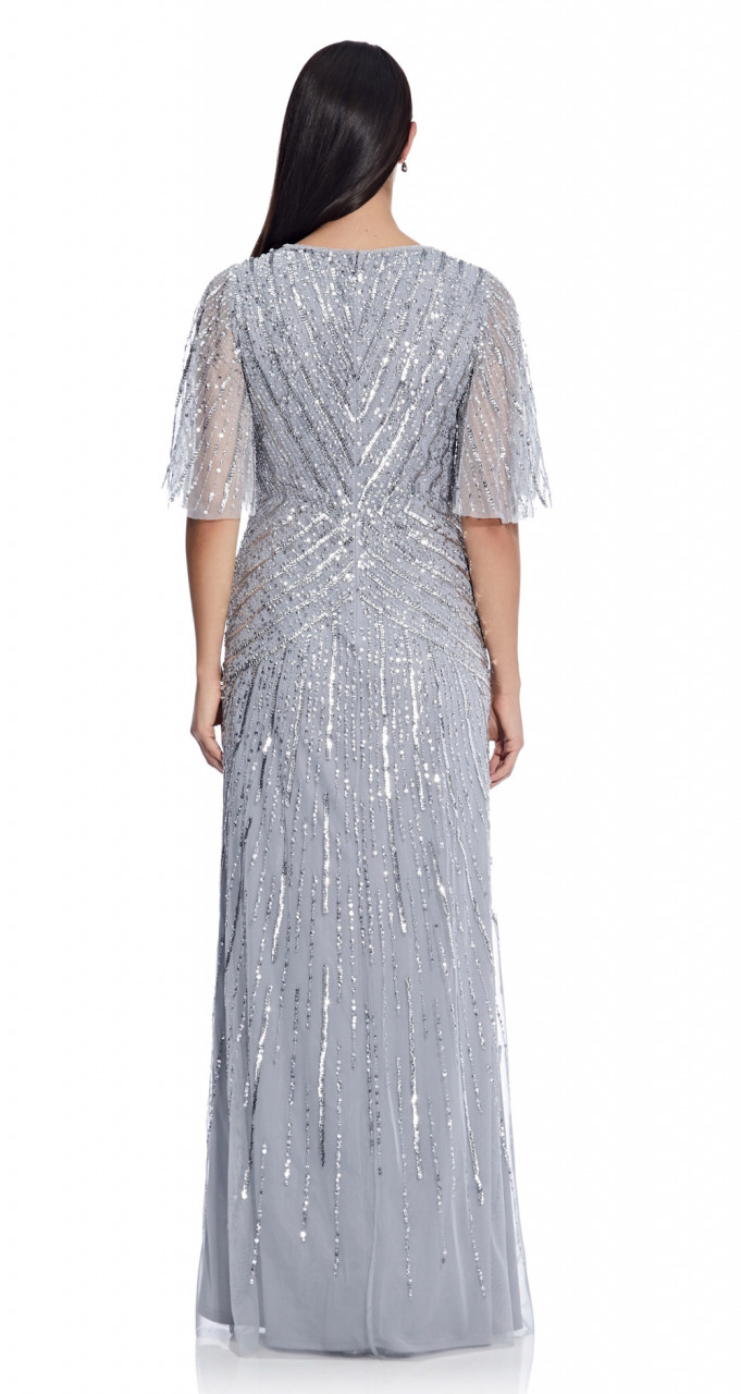 Flutter sleeve beaded gown