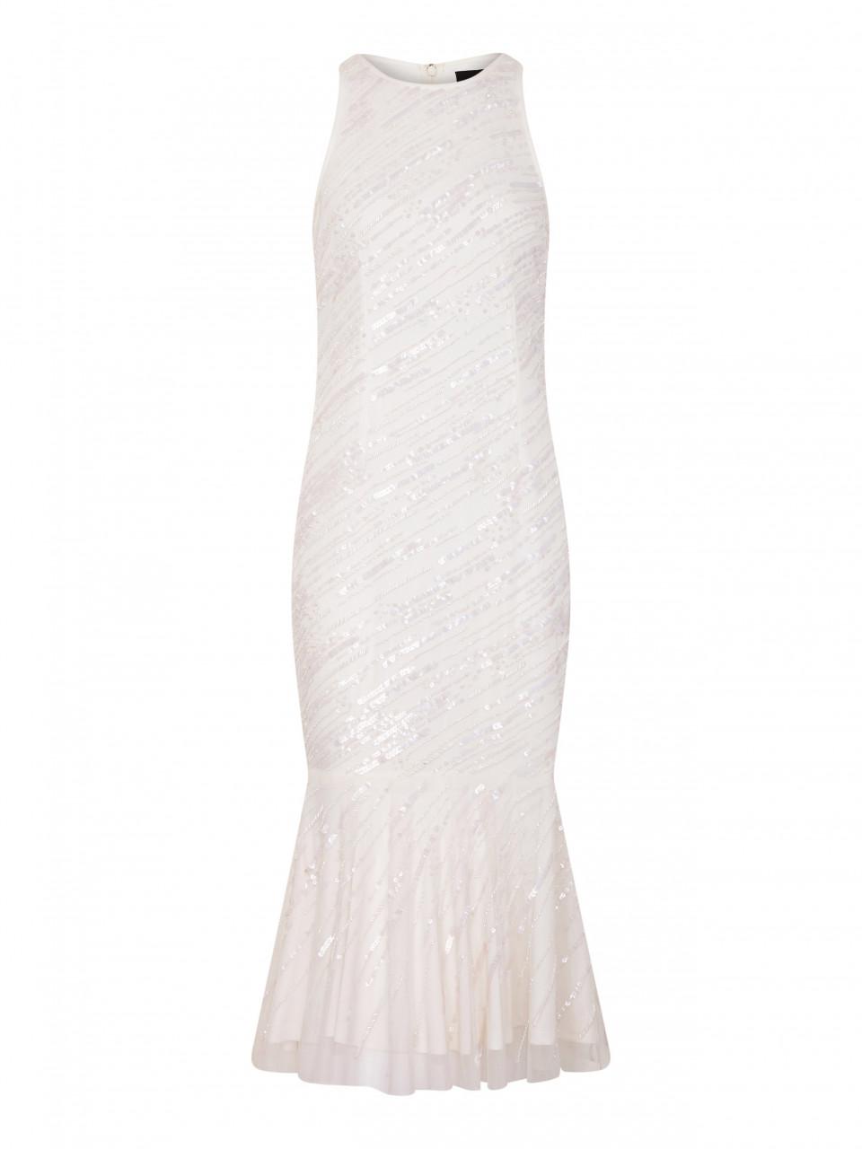 Beaded Cocktail Dress With Halter Neckline