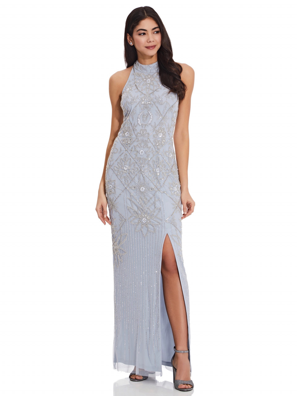 Beaded Column Gown With Open T-Back