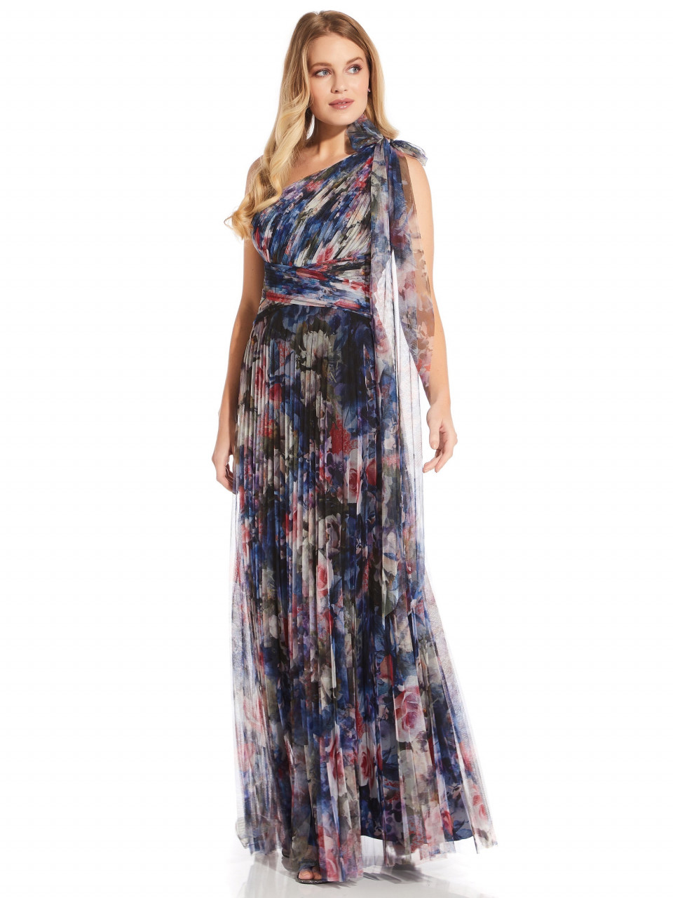 Shirred printed tulle gown