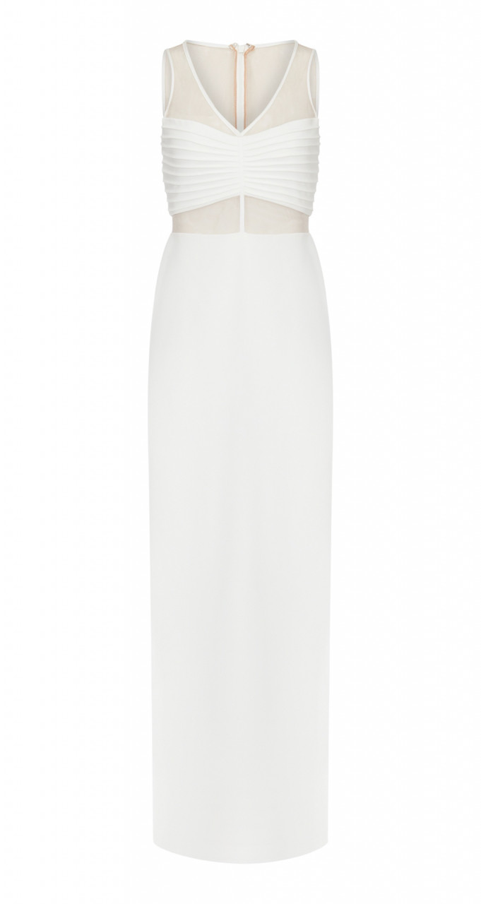 Illusion crepe column gown
