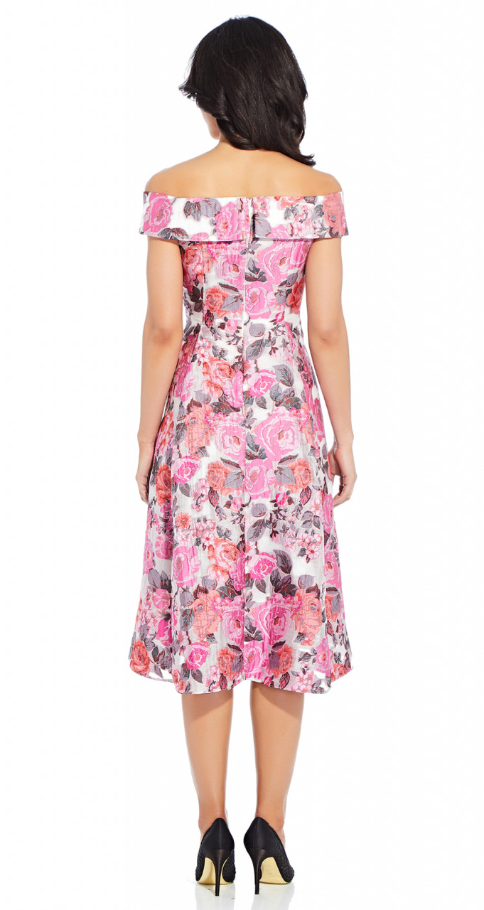 Hi-low jacquard midi dress