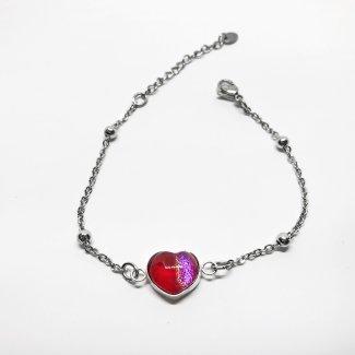 Pulsera Corazón rojo y rosa