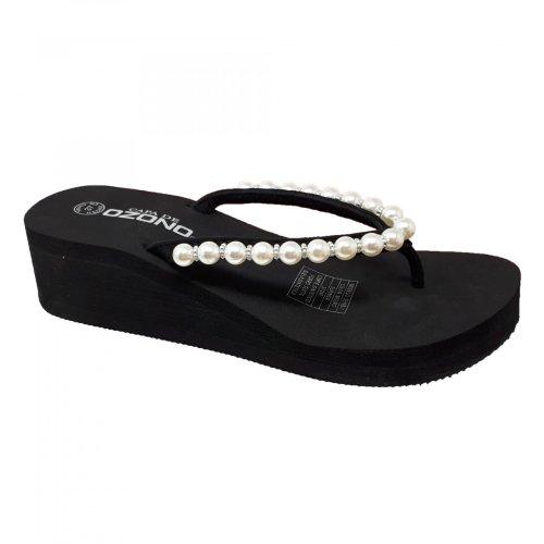 Sandalia negra con plataforma para mujer Capa de Ozono 33160
