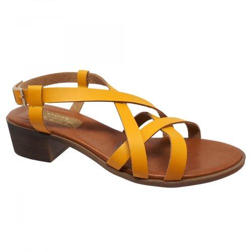 Sandalia para mujer amarilla con tiras y tacón  Capa de Ozono 355813