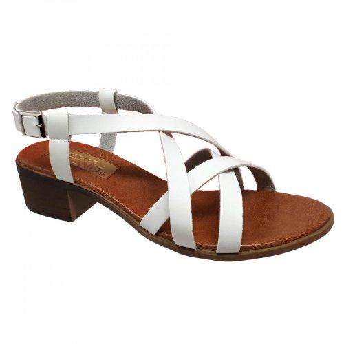 Sandalia para mujer blanca con tiras y tacón  Capa de Ozono 355813