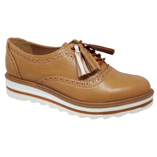 Zapato choclo café camel para mujer Capa de Ozono 374512