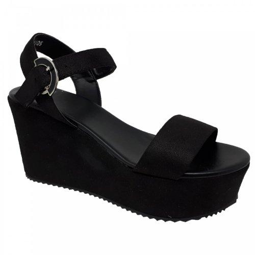 Sandalia negra para mujer con plataforma Capa de Ozono 394105